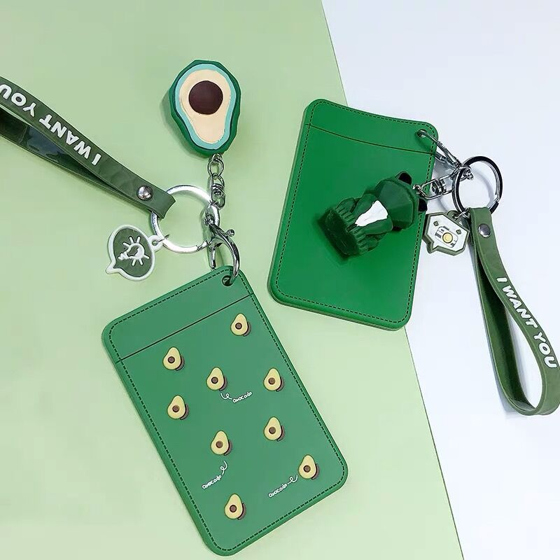 2020 Sharkbang PVC Lanyard ID Credit Bus Card Holder Animal Keychain Card Protector Case Women Wallet School Stationery