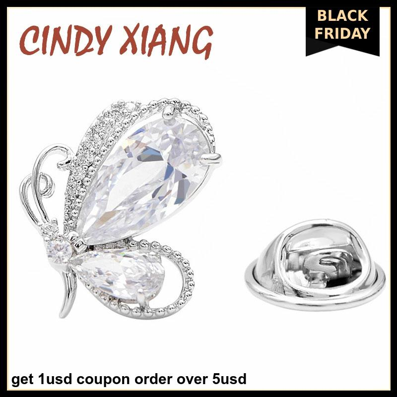 CINDY XIANG Silver Color Cubic Zirconia Butterfly Pins Unisex Women And Men Brooch Small Design Wedding Brooches Good Gift