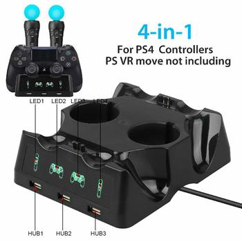 4 w 1 ładowarka do pada stacja dokująca stacja ładowania stojak na PS4 przesuwają PS4 VR tanie i dobre opinie MagiDeal CN (pochodzenie) Charging Dock for PS4 PS VR Bluetooth
