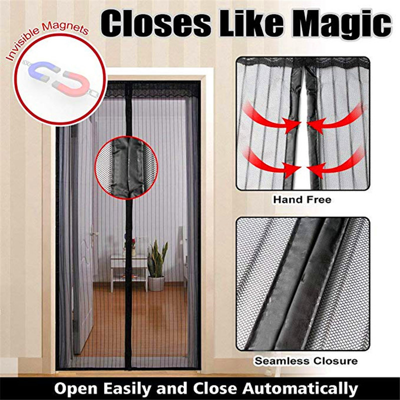Insect Door Curtain with Strips Hands-Free 2 pcs Magnet Anti Mosquito