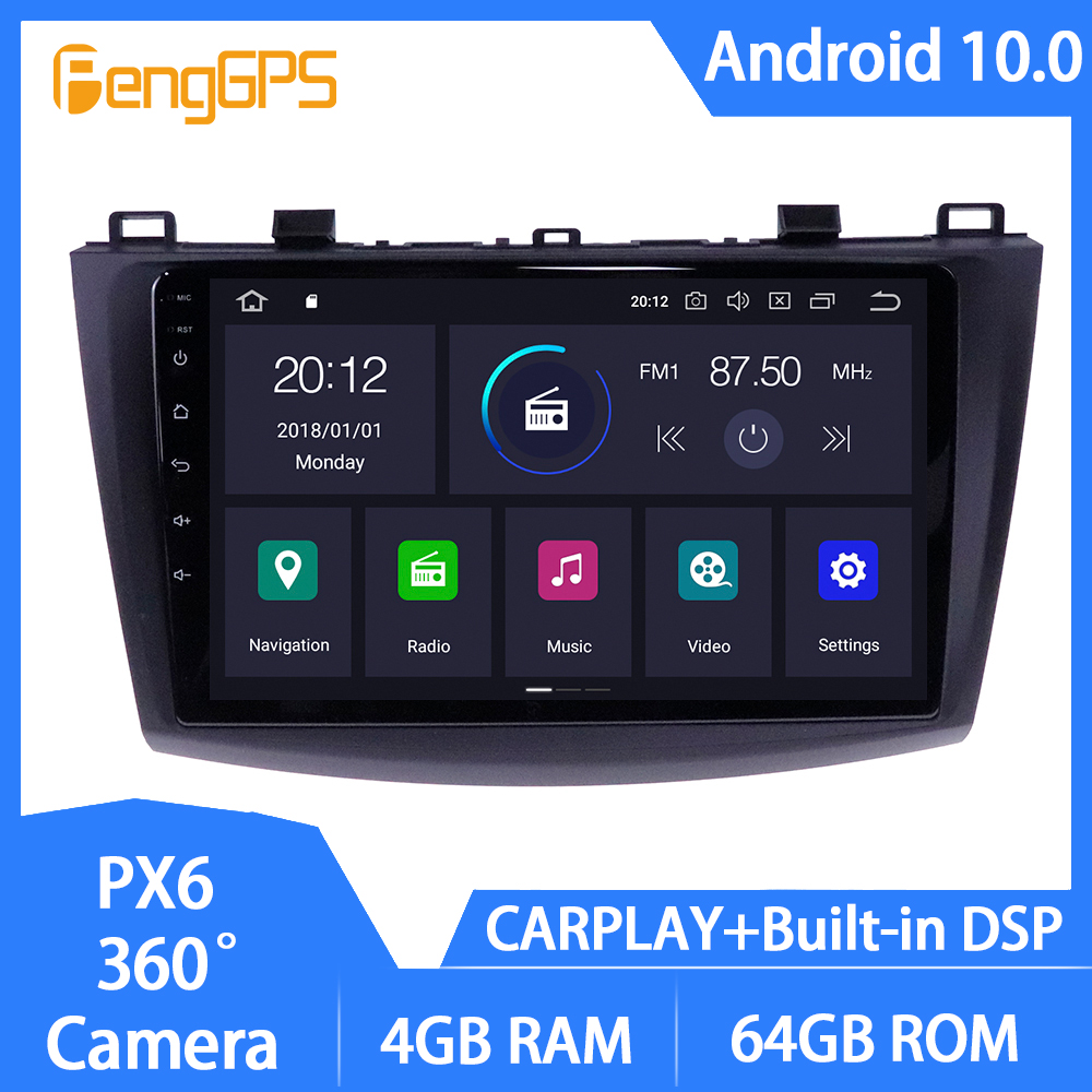 Android 10 <font><b>GPS</b></font> <font><b>Navigator</b></font> for <font><b>Mazda</b></font> <font><b>3</b></font> 2 2009-2013 Auto Stereo Touchscreen Multimedia Mirror Link in-dash Carplay DSP USB image