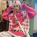 2020 милый розовый свитер в стиле Харадзюку С мультяшным медведем, японская мода, корейский милый топ, зимний свитер, рождественский джемпер, ...