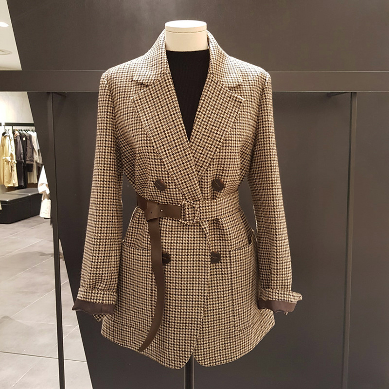 Vintage Double Breasted Office Ladies Plaid Blazer with belt Long Sleeve  Houndstooth Suit Coat Jacket Women blazers Female