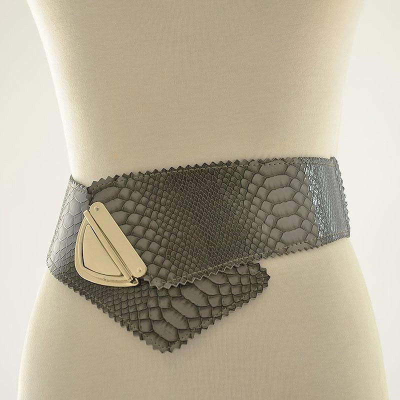 2020 New Design High Fashion Serpentine Leather Belts For Women Solid Stylish Corset Belt Elastic Waistband Female Trendy ZL092