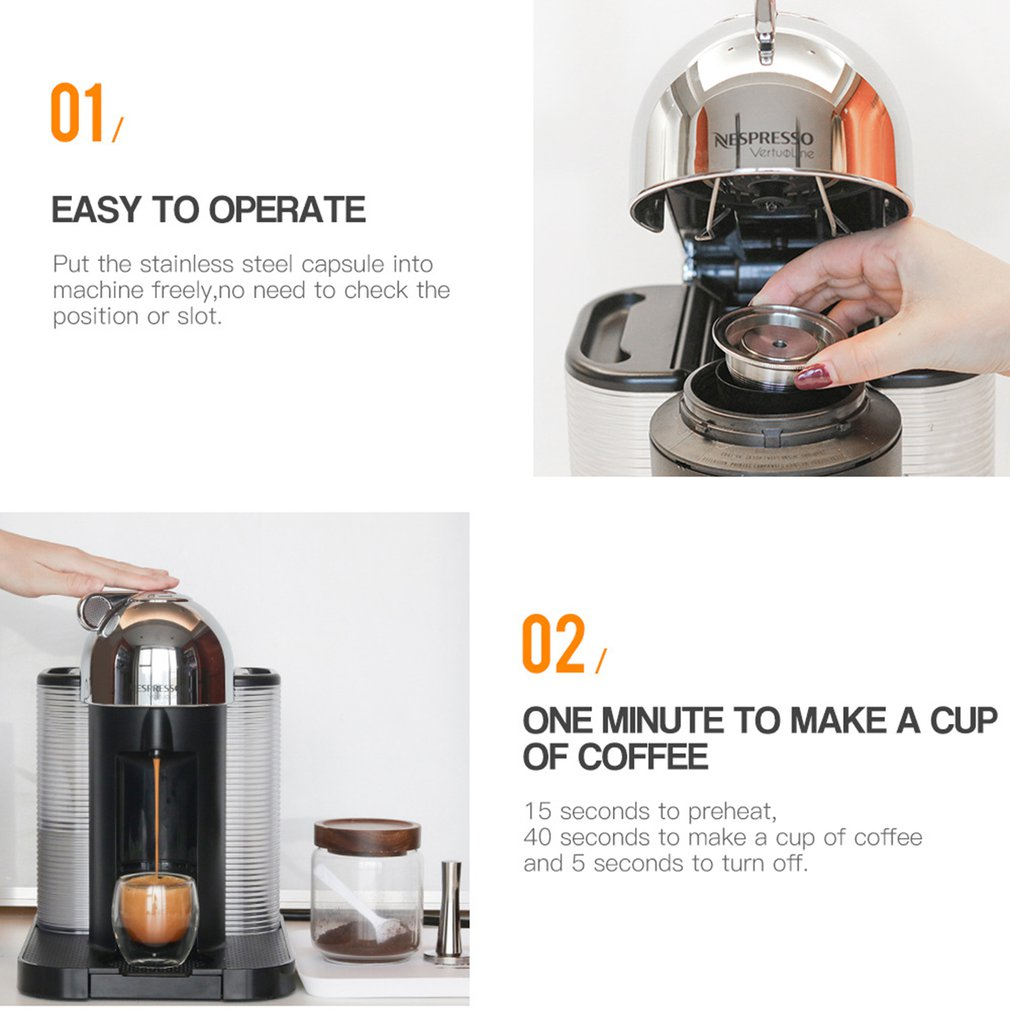 Refillable Coffee Capsule Pod Filter Dripper Tamper Stainless steel Compatible with Nespresso GCA1 ENV135 Coffee Machine