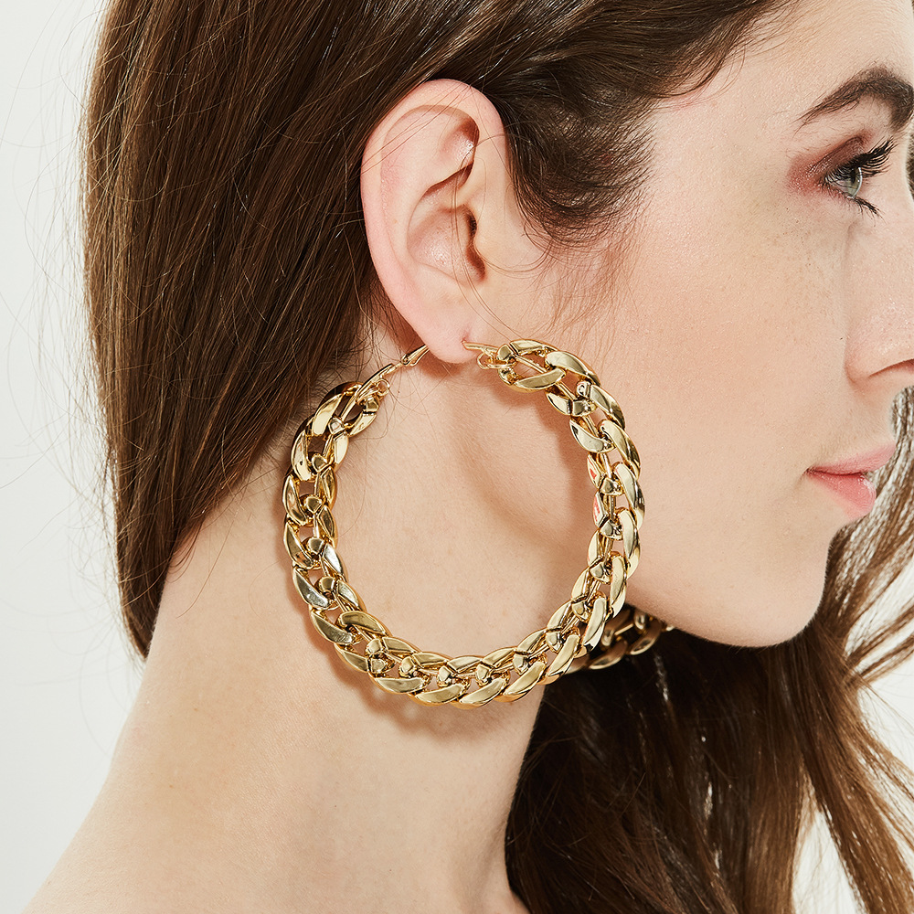 FLASHBUY Trendy Big Alloy Hoop Earrings For Women 2020 Gold Circle Round Metal Hoop Eearrings Fashion Jewelry Wholesale Hot Sale