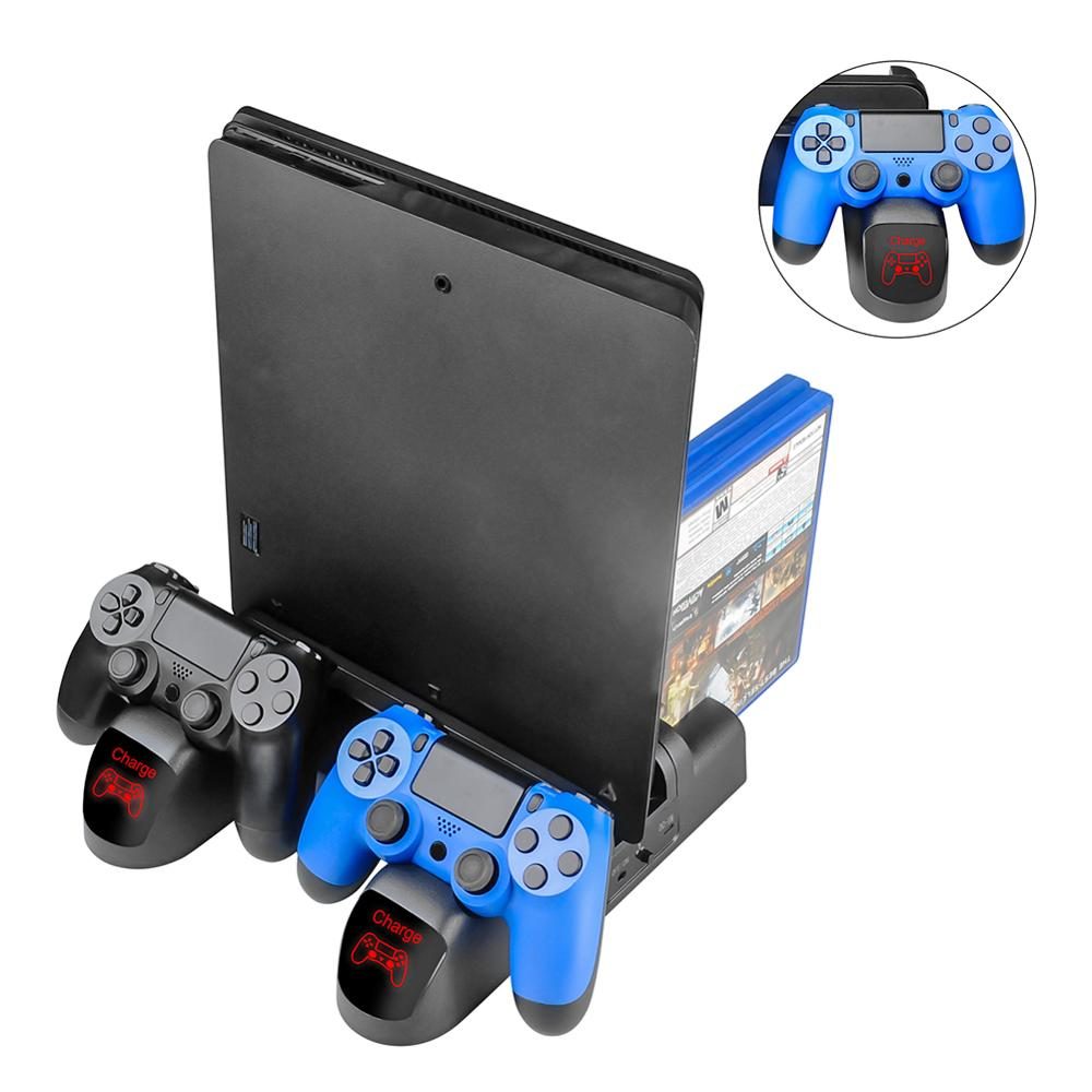 3 in 1 Dual Charging Station Dock with Cooling Fan for PS4/PS4 Slim/PS4 Pro Multifunction LED Controller Charger Stand Holder
