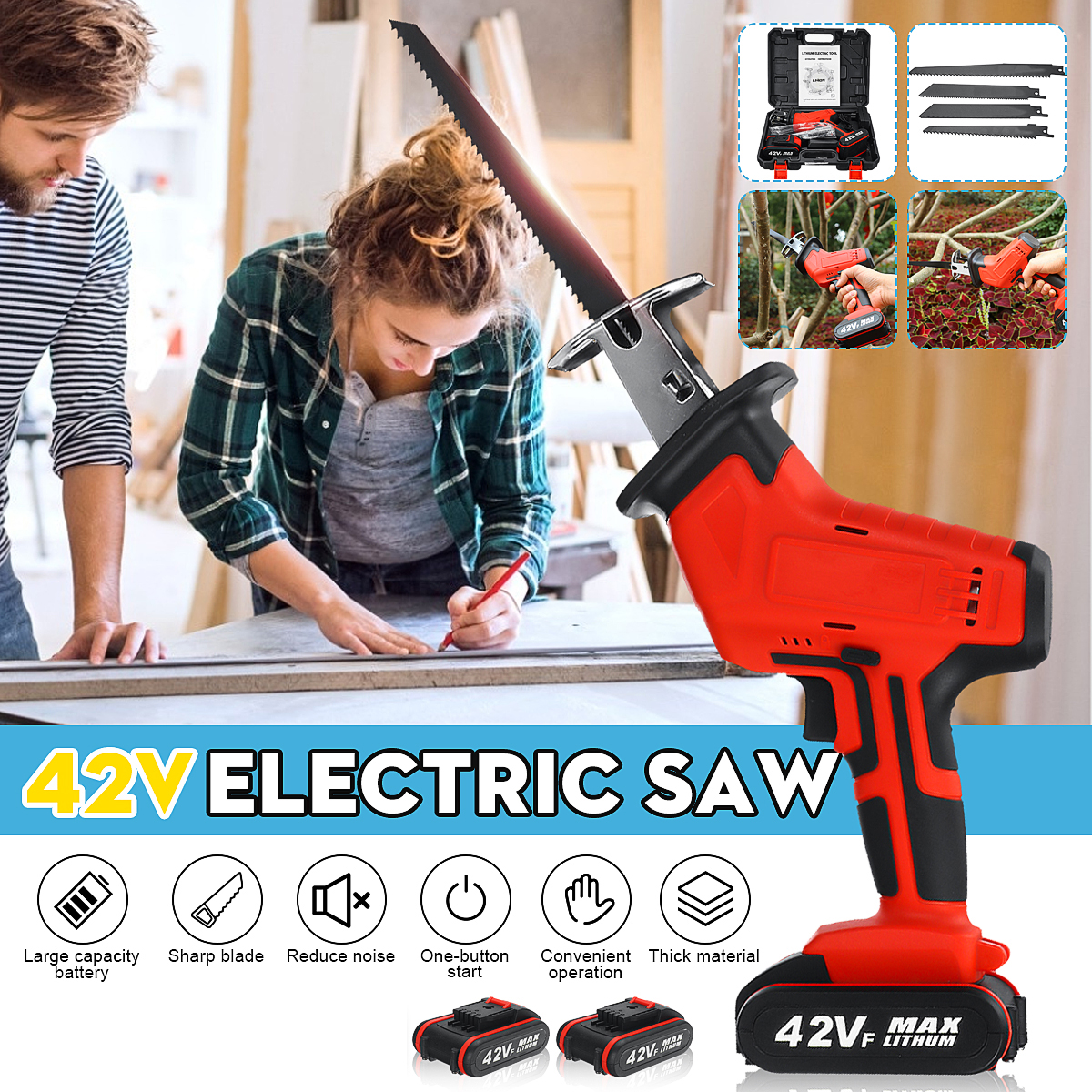 New 42V Cordless Reciprocating Saw +4 Saw blades Metal Cutting Wood Tool Portable Woodworking Cutters 2 Battery New