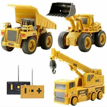 Hotty Toy Mini RC Construction Truck Trailer Car Tractor Excavator Model Bulldozer Crane Truck Toy RTR Loader Remote Control a016 rc excavator toy rc engineering car mini rc truck rechargeable simulated excavator dump truck model toy vehicles for kids