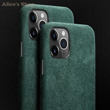 Dla iPhone 11 Pro Max etui na telefony luksusowe Alcantara wytrzymała skórzana etui z pełną ochroną dla iPhone 11/ Pro/ Max Cover