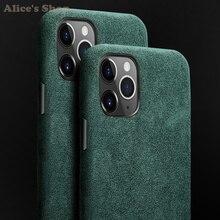สำหรับiPhone 11 Pro Maxกรณีโทรศัพท์หรูหราAlcantaraแท้ทนทานหนังเต็มรูปแบบสำหรับiPhone 11/ Pro/ Max