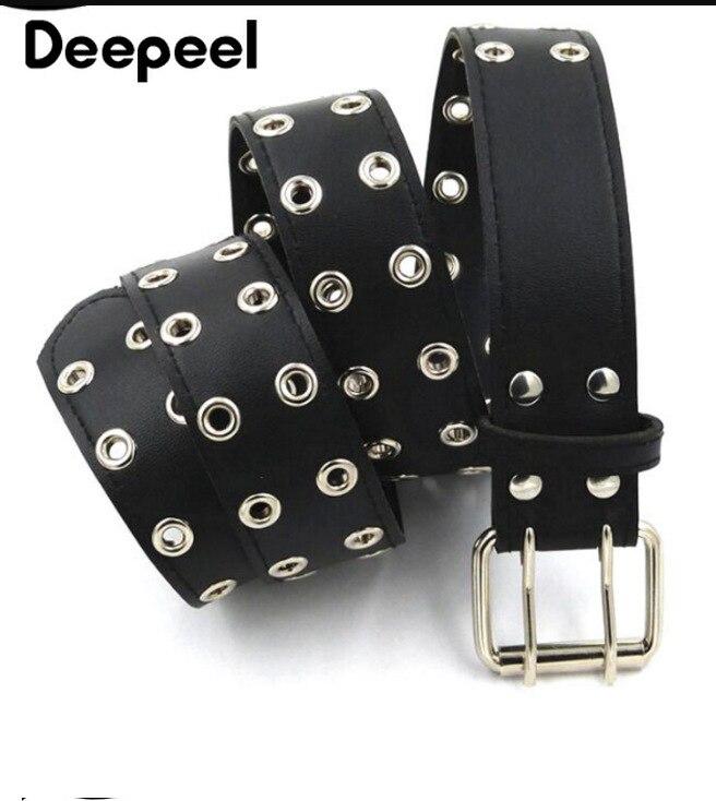 Deepeel 1pc 3.8/5.8cm*105cm Ladies Double Row Metal Pin Buckle Cummerbund Retro Leisure Wide Leather Square Buckle Belt YK739