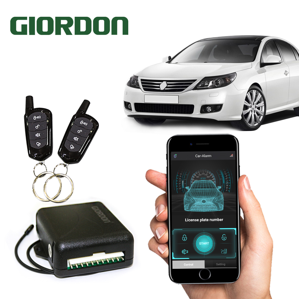 GIORDON Universal Car Auto Keyless Entry System Button Start Stop APP Keychain Central Kit Door Lock with Remote Control