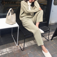 BGTEEVER Warm Women 2 Pieces Set Knitted Outfits Hooded Sweater & Lace-up Pencil Pants 2020 Autumn Winter Female Sweater Set