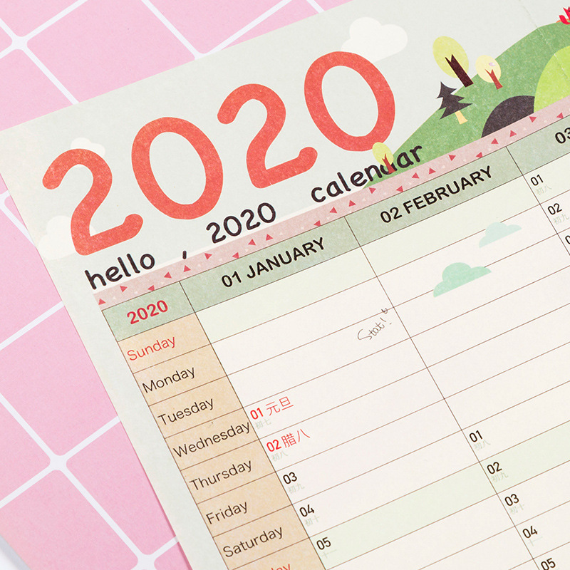 1Pcs  2020 Calendar Wall Calendar 365 Days Countdown Diary Calendar New Arrive Study New Year Plan Schedule Hot Sell
