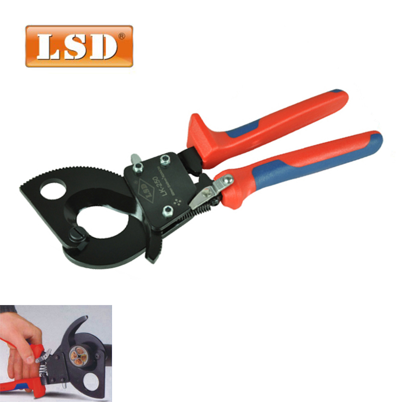 LK-250 1000V cable cutter tool for cutting max 26 5mm 240mm2 CU AL cable electric wire ratchet cable cutter