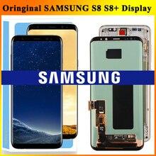 الأصلي سوبر AMOLED S8 LCD مع الإطار لسامسونج غالاكسي S8 G950 G950F عرض S8 زائد G955 G955F شاشة تعمل باللمس محول الأرقام