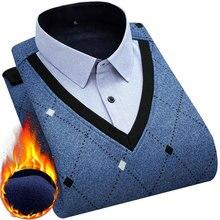 偽二枚ファッション冬男性熱シャツ長袖ターンダウン襟ニット暖かいベルベットの男性カジュアルプリントシャツ