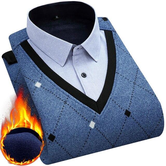 وهمية قطعتين موضة الشتاء الرجال القمصان الحرارية طويلة الأكمام بدوره إلى أسفل طوق محبوك الدافئة مع المخملية الرجال قميص مطبوع عادية