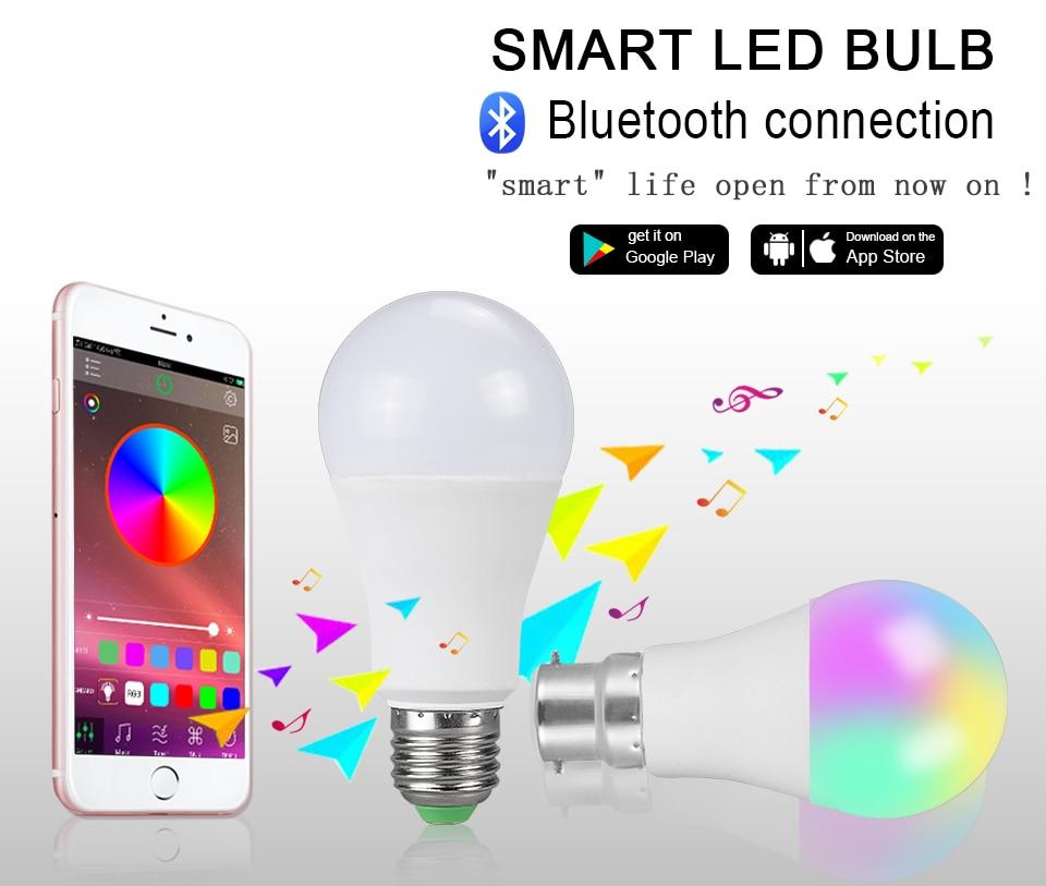 App Operated E27 Bluetooth Lamp Night Light Dimmable 15w 20w 85 265v Smart Bulb B22 Rgbw Rgbww Holiday Decor Atmosphere Light Led Night Lights Aliexpress