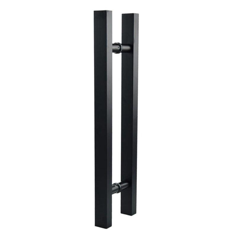 Ev Dekorasyonu'ten Kapı Kolları'de Mat siyah paslanmaz çelik cam/ahşap kapı kolu title=