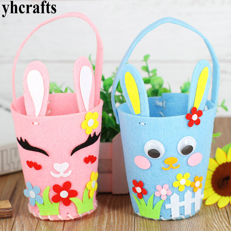 5PCS/Lot.DIY Non-woven Easter Rabbit Bag Bunny Bucket Handmade Felt Chicken Crafts Kits Fabric Holiday Project Crafts Toys OEM