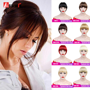 AOSIWIG Short Straight Bangs Synthetic Hairpieces Hair Women Natural Short Fake Hair Bangs Heat Resistant