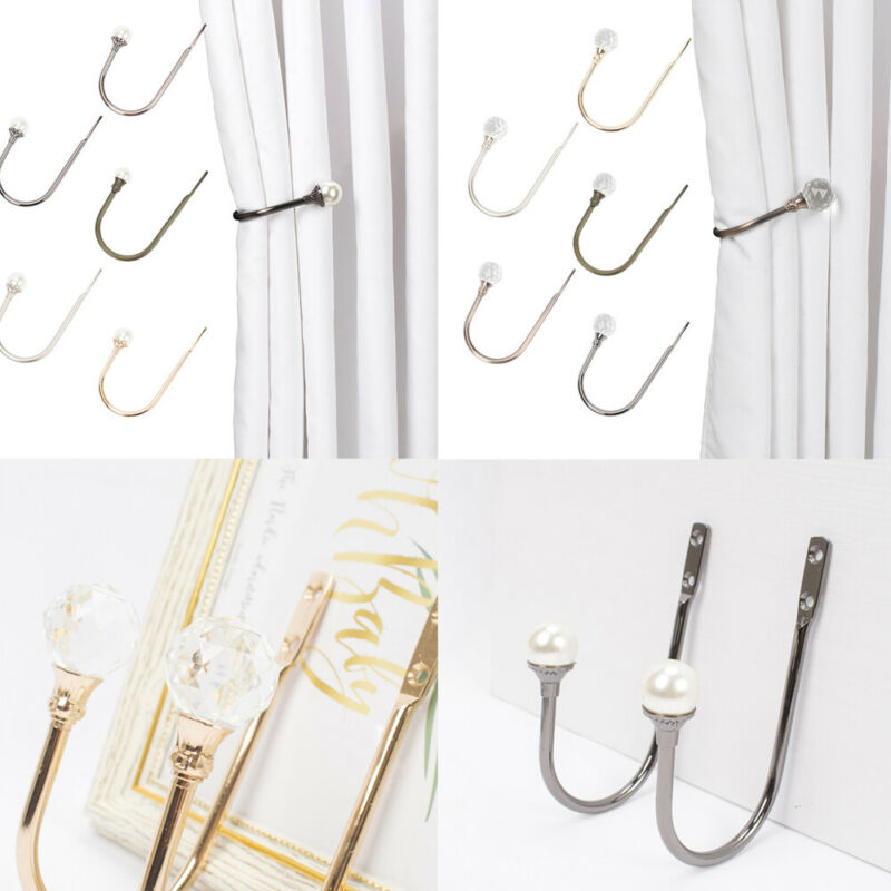 Large Crystal/Pearl Curtain  Wall Hook Large Stylsh Curtain Hold Back Tassel Holder