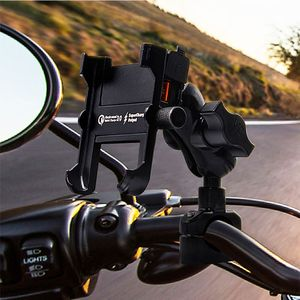 Image 2 - Waterproof Metal Motorcycle Smart Phone Mount with QC 3.0 USB Quick Charger Motorbike Mirror Handlebar Stand Holder for Samsung