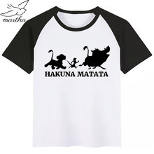 Kinder Sommer Mode Jungen Mädchen T-shirt Kinder Cartoon Lion King Hakuna Matata Lustige T-shirt Kinder Nette Simba Tops Baby Kleidung(China)