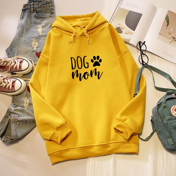 Dog Mom Letter Print Hoodies Women Korean Fashion Kawaii Graphic Sweatshirt Oversized Long Sleeve Female Pullover Streetwear Top 2