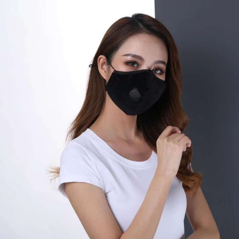 Cotton Breath Valve PM2.5 Mouth Mask Anti-Dust Anti Pollution Mask Cloth Activated Carbon Filter Anti Air Dust 2 Filters
