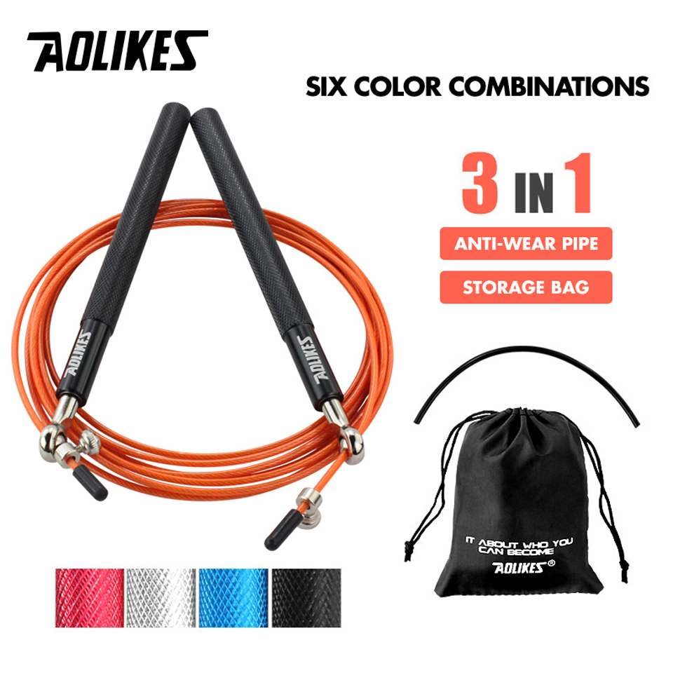AOLIKES 1PCS Crossfit Speed Jump Rope Professional Skipping Rope For MMA Boxing Fitness Skip Workout Training With Carrying Bag