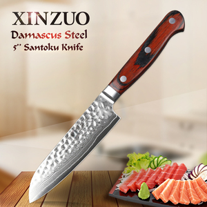 Image 1 - XINZUO 5 inch Santoku Knife 67 layer Damascus Stainless Steel Kitchen Knives Pakkawood Handle High Quality Japan Fruit Knives