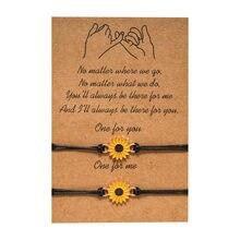 Ręcznie robiony słonecznik modlący się ręczny wisiorek bransoletka szwy najlepsze Frineds tkactwo Rope Chain bransoletka dla przyjaciela kochanka najlepszy prezent