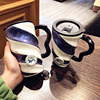 Creative Blue European-style Ceramic Coffee Mug 500ml Large Capacity Office Cup for Boys and Girls and Home Cup Spoon with Lid 4
