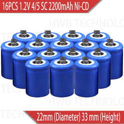 16PCS/lot Ni-Cd 1.2V 2200mAh 4/5 SubC Sub 4/5SC Rechargeable Battery with Tab - Blue Power tools battery Free shipping