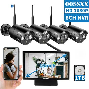 OOSSXX 8CH 1080P Wireless NVR Kit 10' LCD Monitor HD Outdoor 2MP Security IP Camera Video Surveillance wifi CCTV camera system anran 4ch hd 720p hd wifi nvr 7 lcd monitor 1 0 megapixel outdoor security wireless ip camera video surveillance system for home