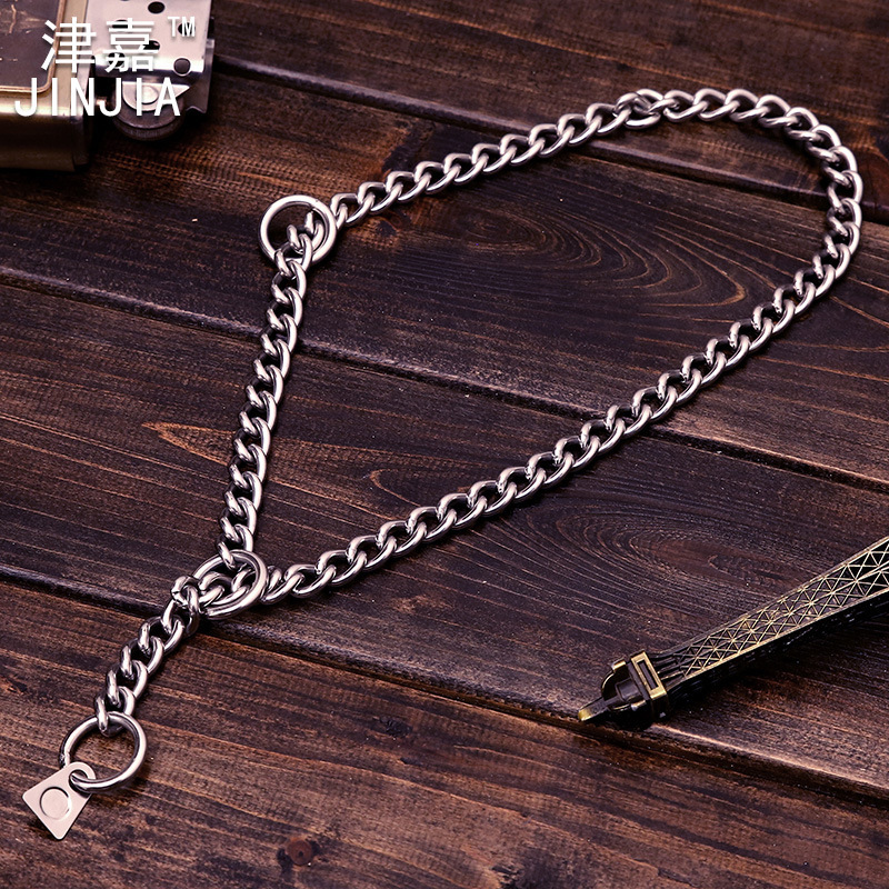 Dog Snake Chain P Pendant Stainless Steel Necklace Neck Ring Pet Supplies