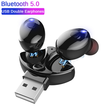 Amorno TWS Bluetooth 5.0 Earphones Mini Wireless USB Earbuds Sports Stereo Headset With Microphone For iPhone Xiaomi for iPod