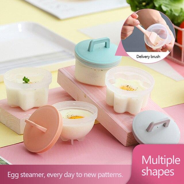 Moule à œufs avec couvercle | Crêpes en plastique, moule à œufs, bols avec couvercle, pocher aux œufs, dosettes de pochage, anneaux, cuiseur chaudière, Cuit, outils de cuisine 4 pièces/lot