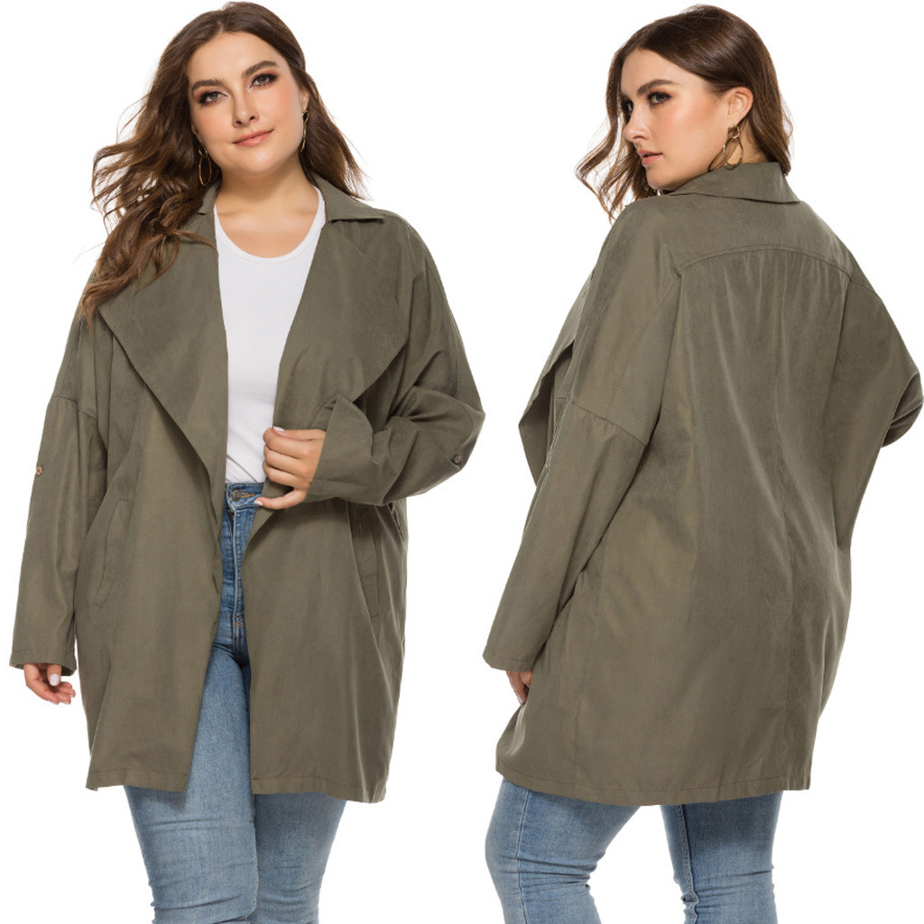 Fashion Jackets Women Casual Plus Size Long Sleeve Solid Pocket Tops Outwear Jacket Autumn Winter Coat куртка женская зимняя
