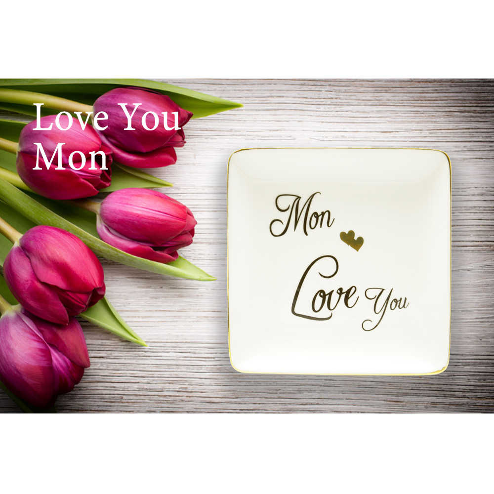 Mom 2021 Ring Dish Ceramic Trinket Tray Ring Holder Jewelry Dish- I love you Gift for mothers mom