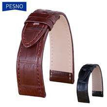 Bracelets de montre en cuir véritable peau dalligator Pesno bracelet de montre en peau de veau marron noir adapté à Montblanc Timewalker Stat