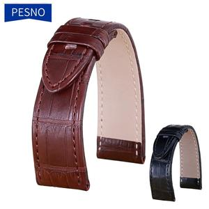 Image 1 - Bracelets de montre en cuir véritable peau dalligator Pesno bracelet de montre en peau de veau marron noir adapté à Montblanc Timewalker Stat