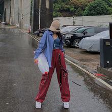 HOUZHOU Punk Chain Cargo Pants Women Harajuku Plaid Pants for Women Checkered Pants Streetwear 2000s Aesthetic Hip Hop E-girl cheap Polyester Full Length CN(Origin) Spring Autumn KL1669 Wide Leg Pants Flat Loose Ages 18-35 Years Old PATTERN Broadcloth