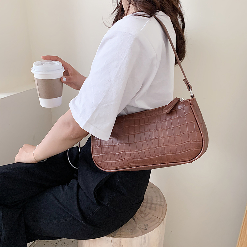 Stone Pattern Small Pu Leather Armpit Bag For Women 2020 Summer Chain Shoulder Bags Summer Handbags Female Travel Hand Bag