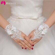 Gloves Ivory Wedding Lace Fingerless White Women for Bow Knot Short Molans