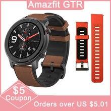 النسخة العالمية Amazfit GTR 47 مللي متر Huami ساعة ذكية 5ATM مقاوم للماء 24 أيام بطارية لتحديد المواقع تحكم بالموسيقى دعم ل IOS أندرويد