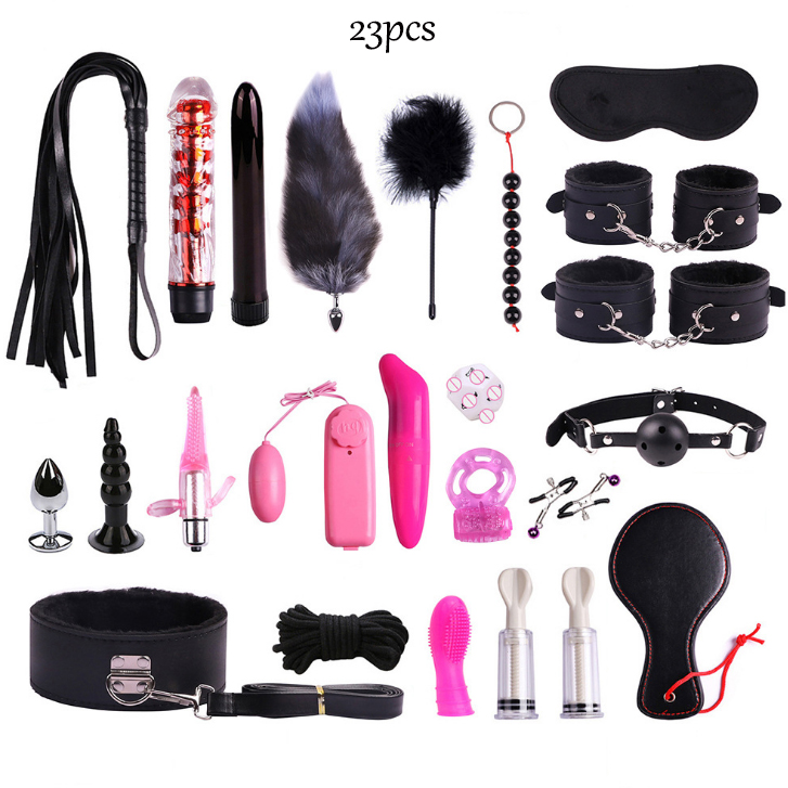 23pcs Sex Toys BDSM Adult Games For Couples Bondage Rope Nipple Clamps Anal Plug Whip Handcuffs Blindfold Mouth Gag Sex Toys Kit